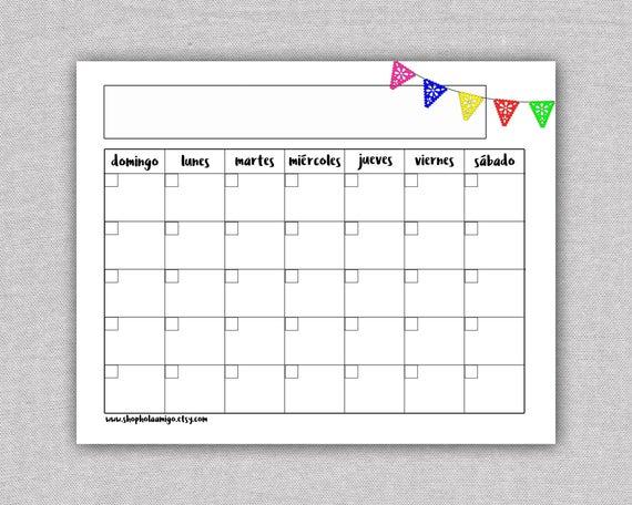 Spanish Printable Calendar Template Calendario Mensual | Etsy Pertaining To Mexican Calendar Names