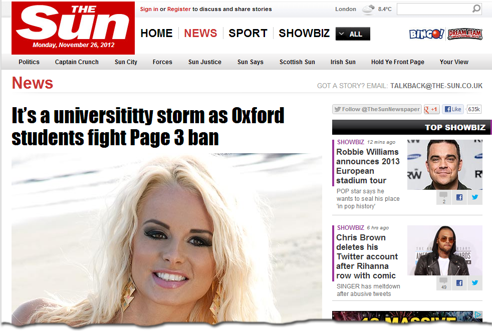 Sun Scorn At Page 3 Ban For The Sun Girls Page 3