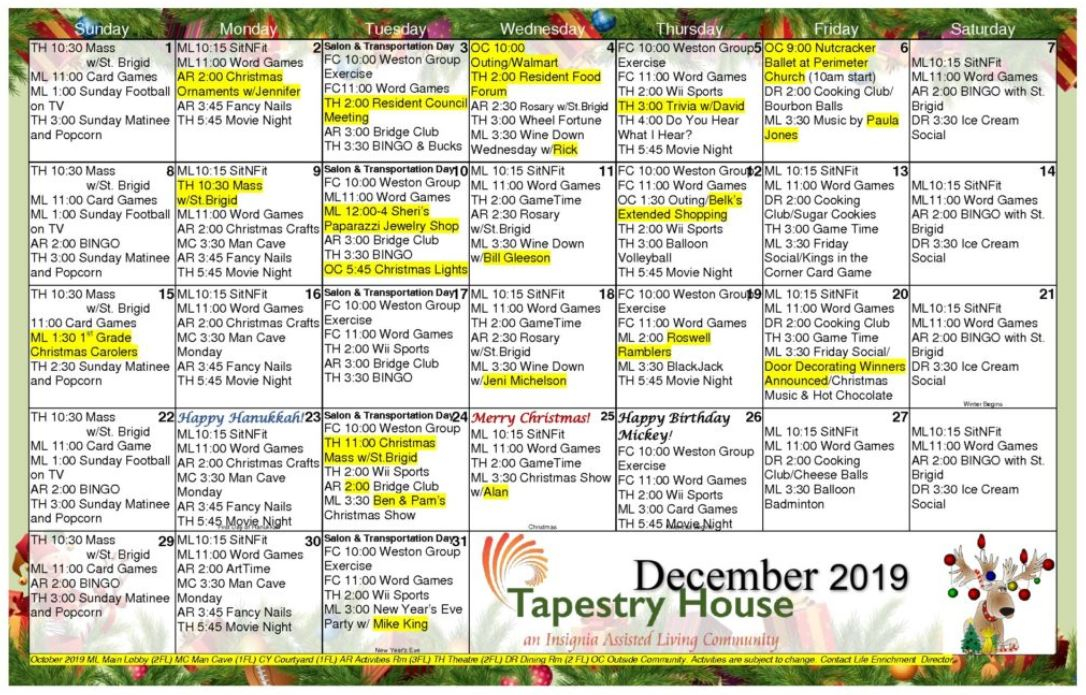 Tapestry House Assisted Living - Calendars | Personalized Intended For Assisted Living Calendars