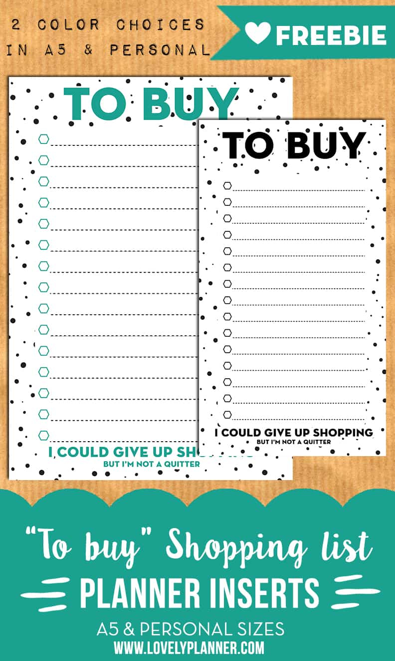 To Buy / Shopping List Planner Inserts For A5 & Personal In 60 Calendar Days Back From Today
