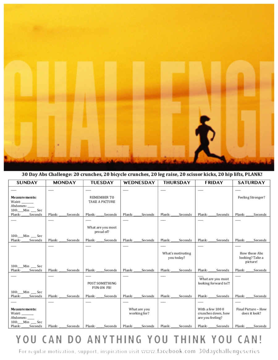 Universal 30 Day Free Fillable Blank Template Workout Throughout 30 Days Calendar