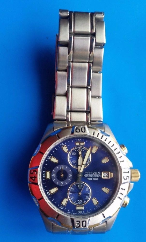 Vintage Citizen Chronograph Wr 100 Gn 4 S Mens Watch # With Citizen Eco Drive Wr100 Manual