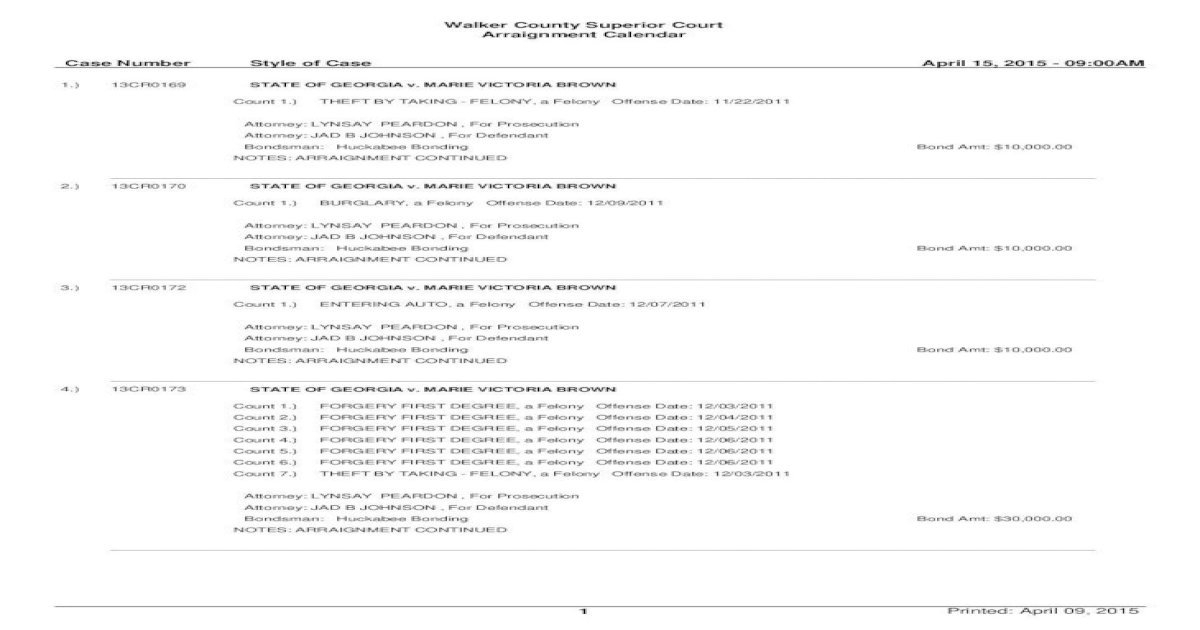 Walker County Superior Court Arraignment Calendar Case – Calendar Template 2020 In Court Calendars District And Superior