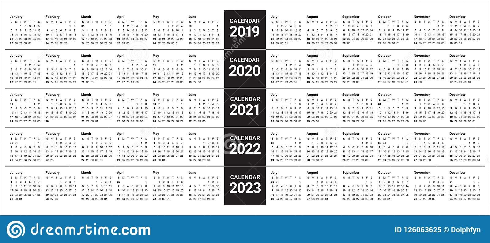 Year 2019 2020 2021 2022 2023 Calendar Vector Design In 4 5 4 Retail Calendar 2019 2022
