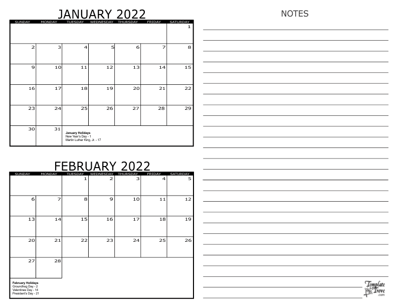2 Month Calendar – 2022 In Full Page January 2022 Calendar
