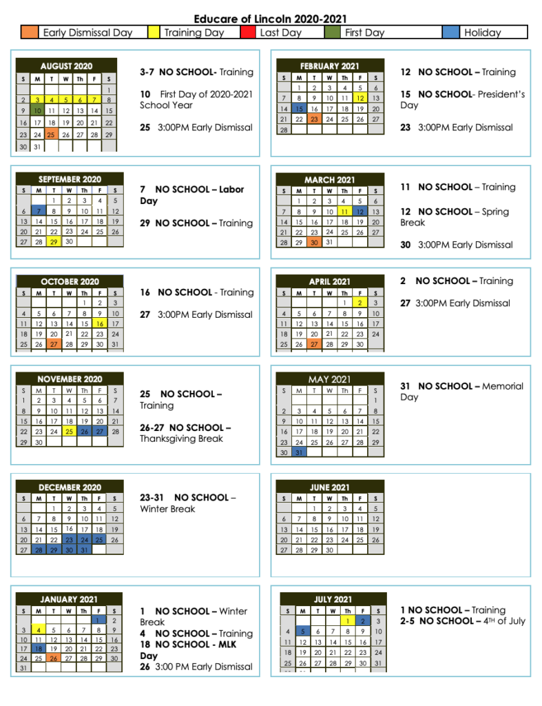 2020 2021 Family Calendar - Educare Lincoln With Downey Unified 2021 Spring Break