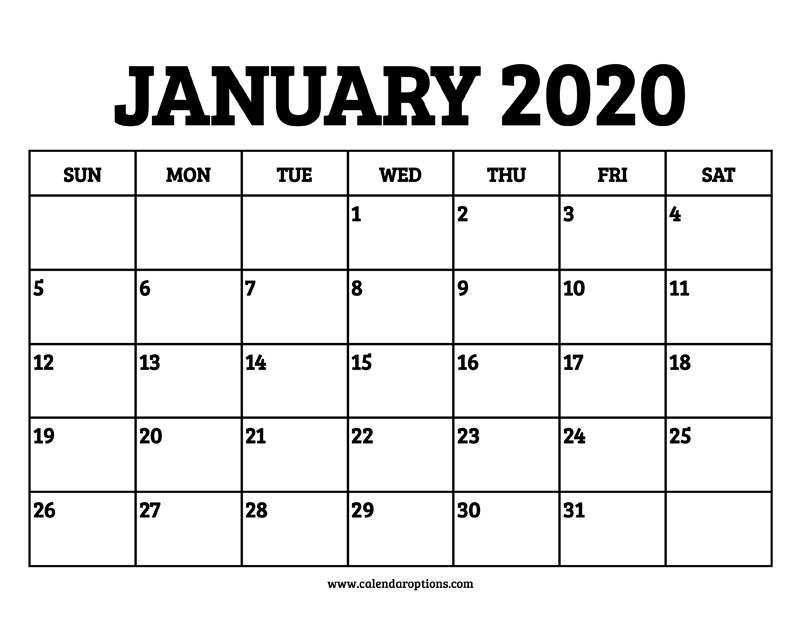 2020 Calendar January | Calvert Giving intended for Full Page January Calendar