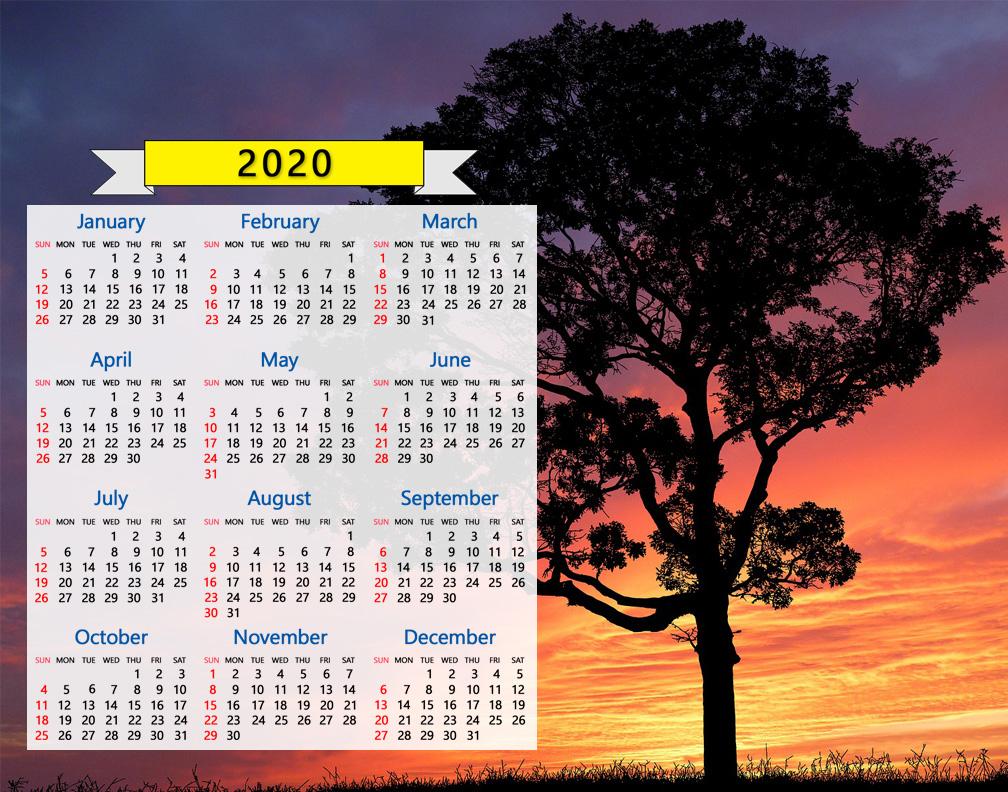 2020 Calendar: Tree Silhouette Sunset Sunrise Nature Regarding Sunset Sunrise Printable