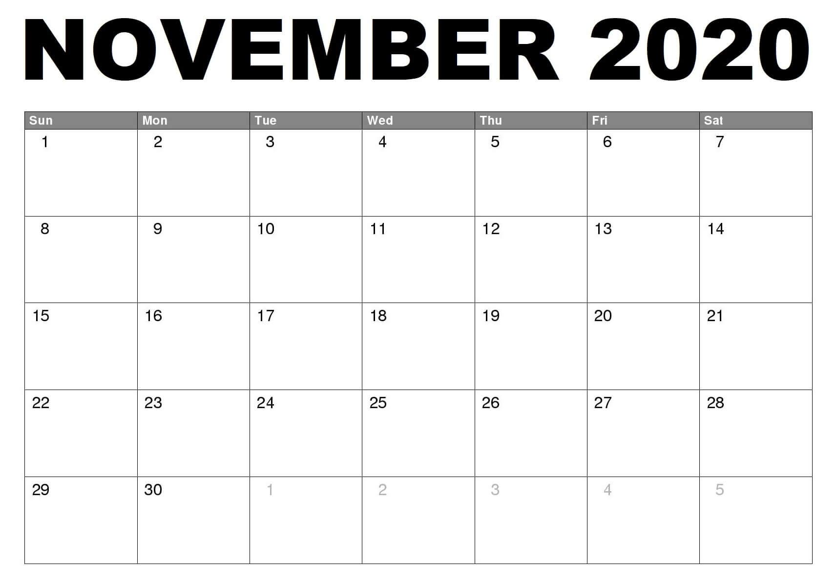 2020 Fillable November Calendar Printable Editable Inside Print Calendar January 2022 Fillable Lines
