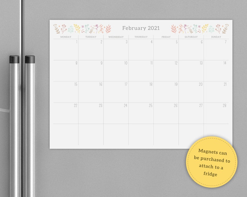 2021/2022 Floral Monthly Calendar Notepad Pre Filled A4 | Etsy Regarding Calendar 2022 February Floral