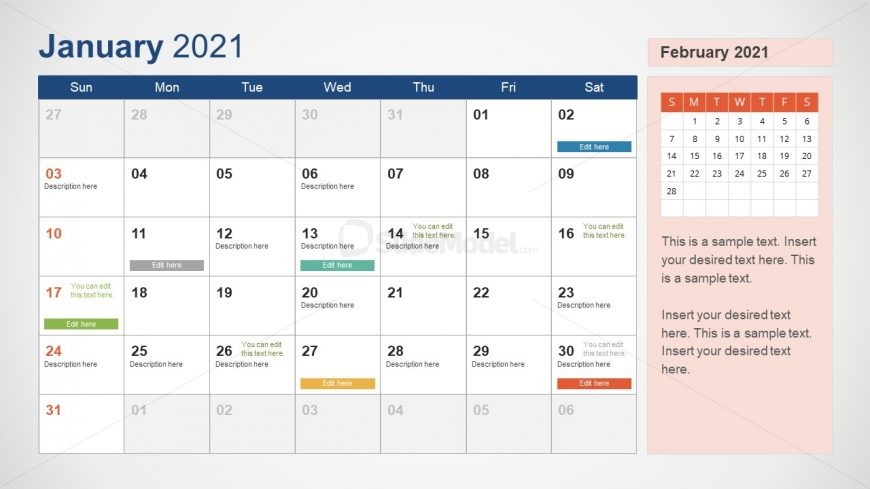 2021 Calendar Template January Powerpoint - Slidemodel Within View January 2021 Calendar