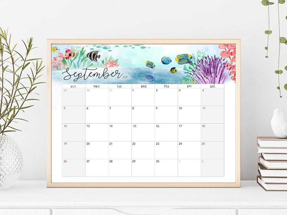 2021 Feb To 2022 Jan Planner Calendar Printable Ocean | Etsy Intended For Calendar 2022 February Floral