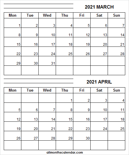 2021 March And April Calendar Template - Monthly Printable Inside Printable Calendar March April May 2021