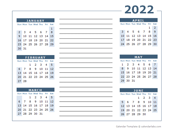 2022 Blank Two Page Calendar Template For 2022 - Free Throughout Half Page 2022 January Calendar