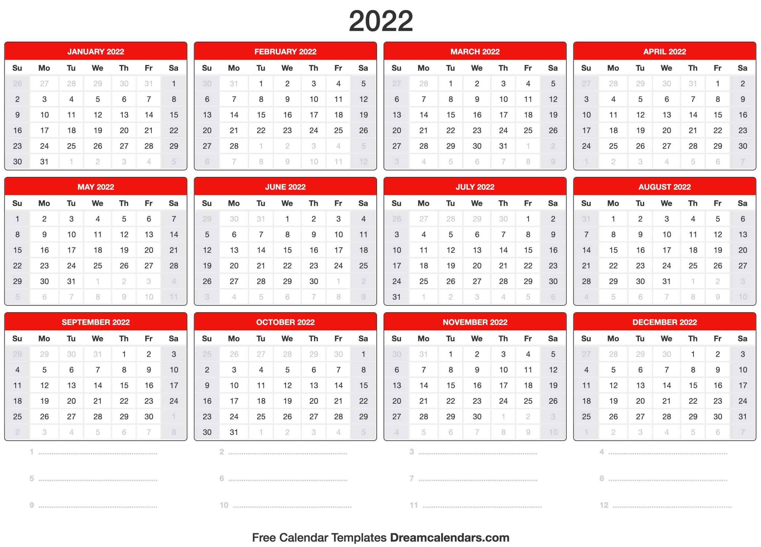 2022 Calendar With Free Printable Calendar Templates January 2022