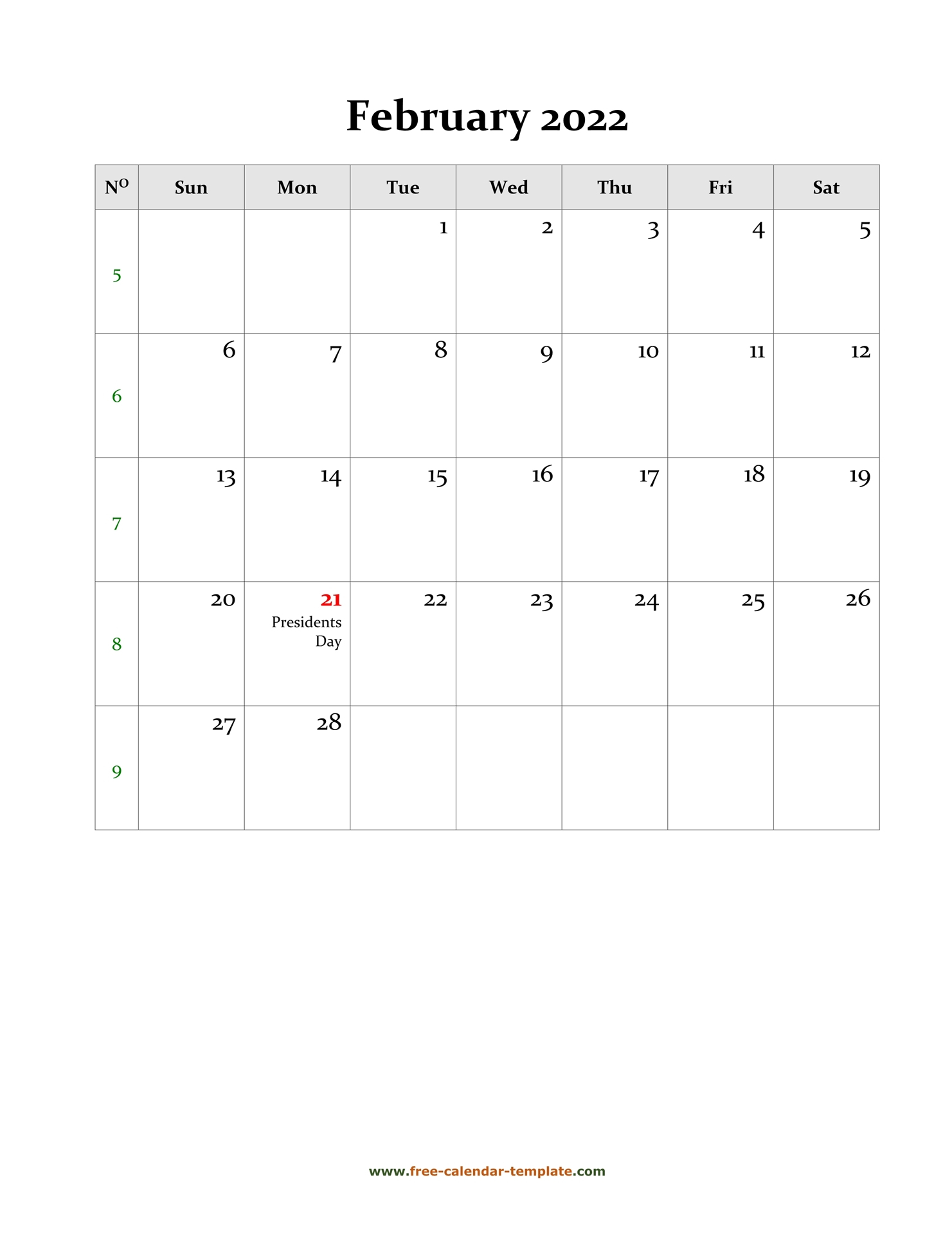 2022 February Calendar (Blank Vertical Template) | Free Pertaining To February 2022 Calendar Printable
