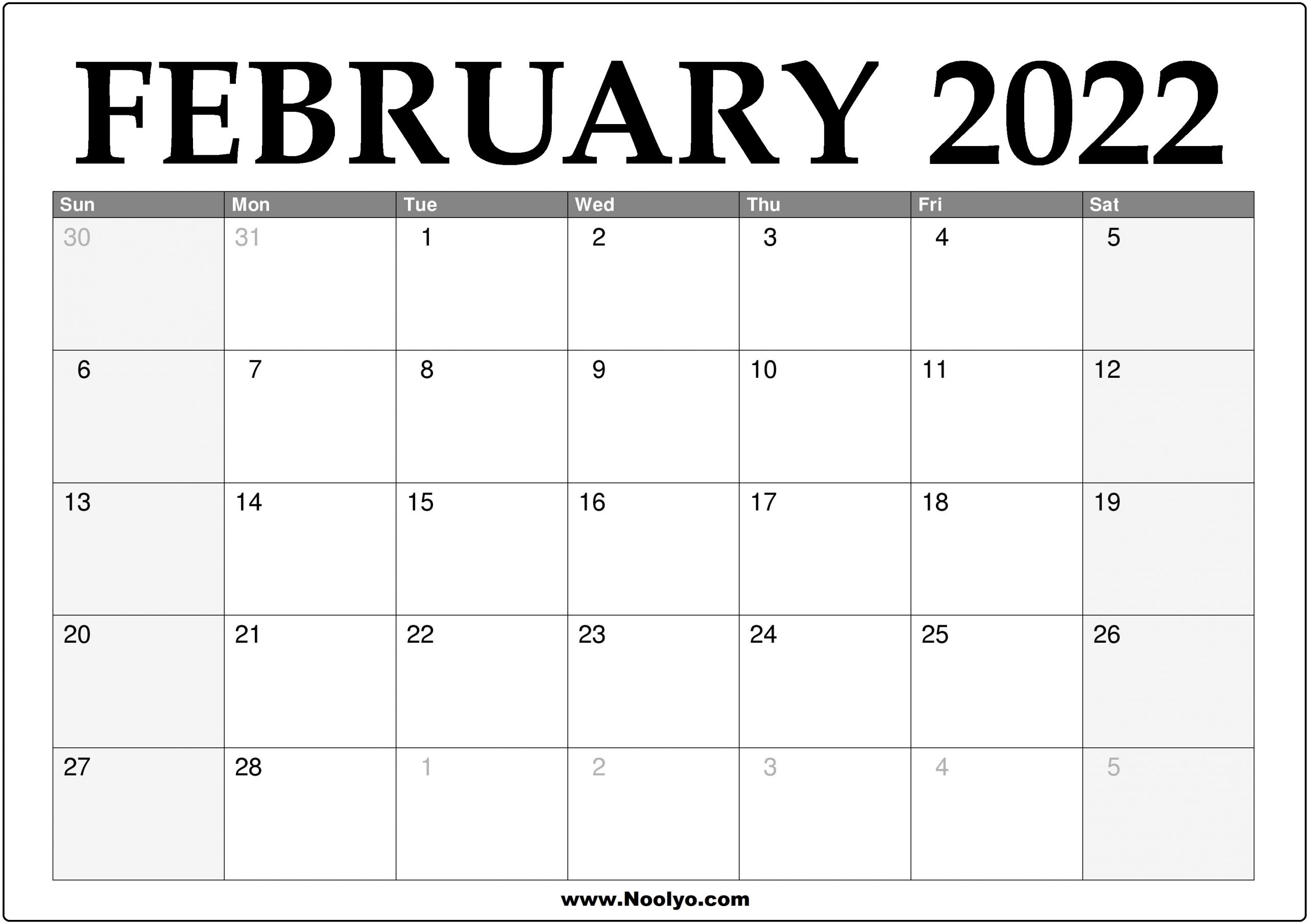 2022 February Calendar Printable - Download Free - Noolyo For 2022 Free Big Primt For Feb 2022