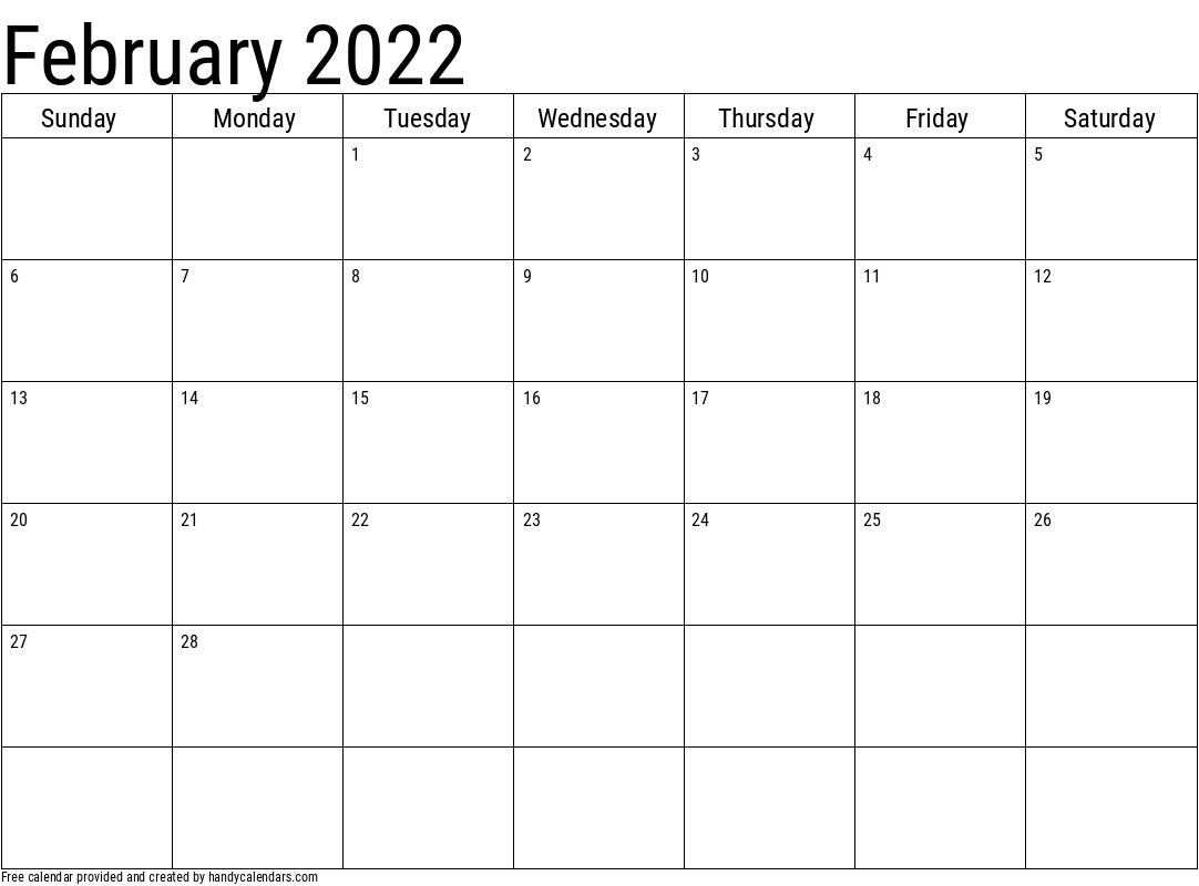 2022 February Calendars – Handy Calendars With Regard To Picture Of Calendar For February 2022