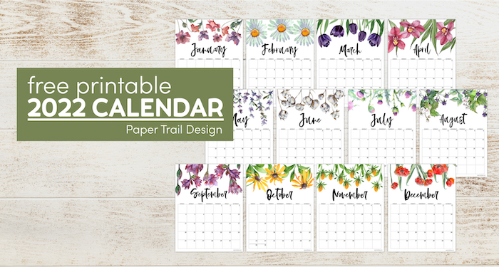 2022 Free Printable Calendar – Floral | Paper Trail Design Pertaining To Calendar 2022 February Floral