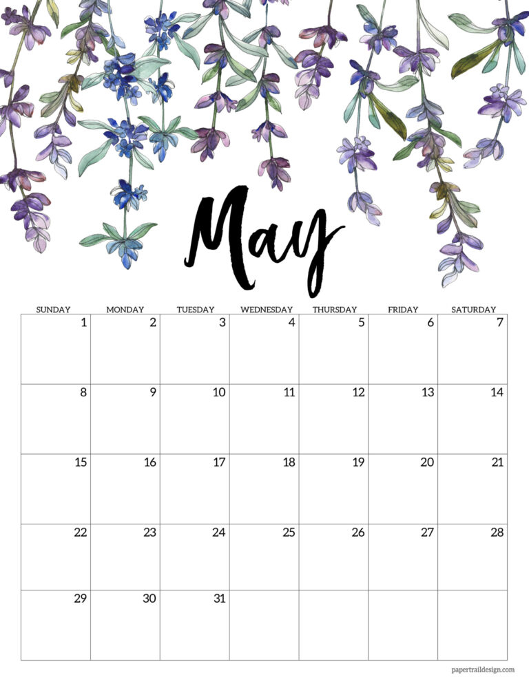 2022 Free Printable Calendar – Floral | Paper Trail Design With Calendar 2022 February Floral