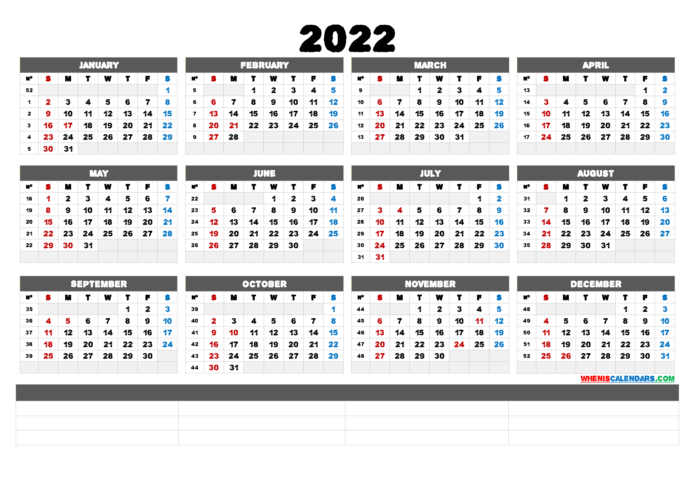 2022 Free Printable Yearly Calendar (6 Templates) - Free For January 2022 Calendar Large Font