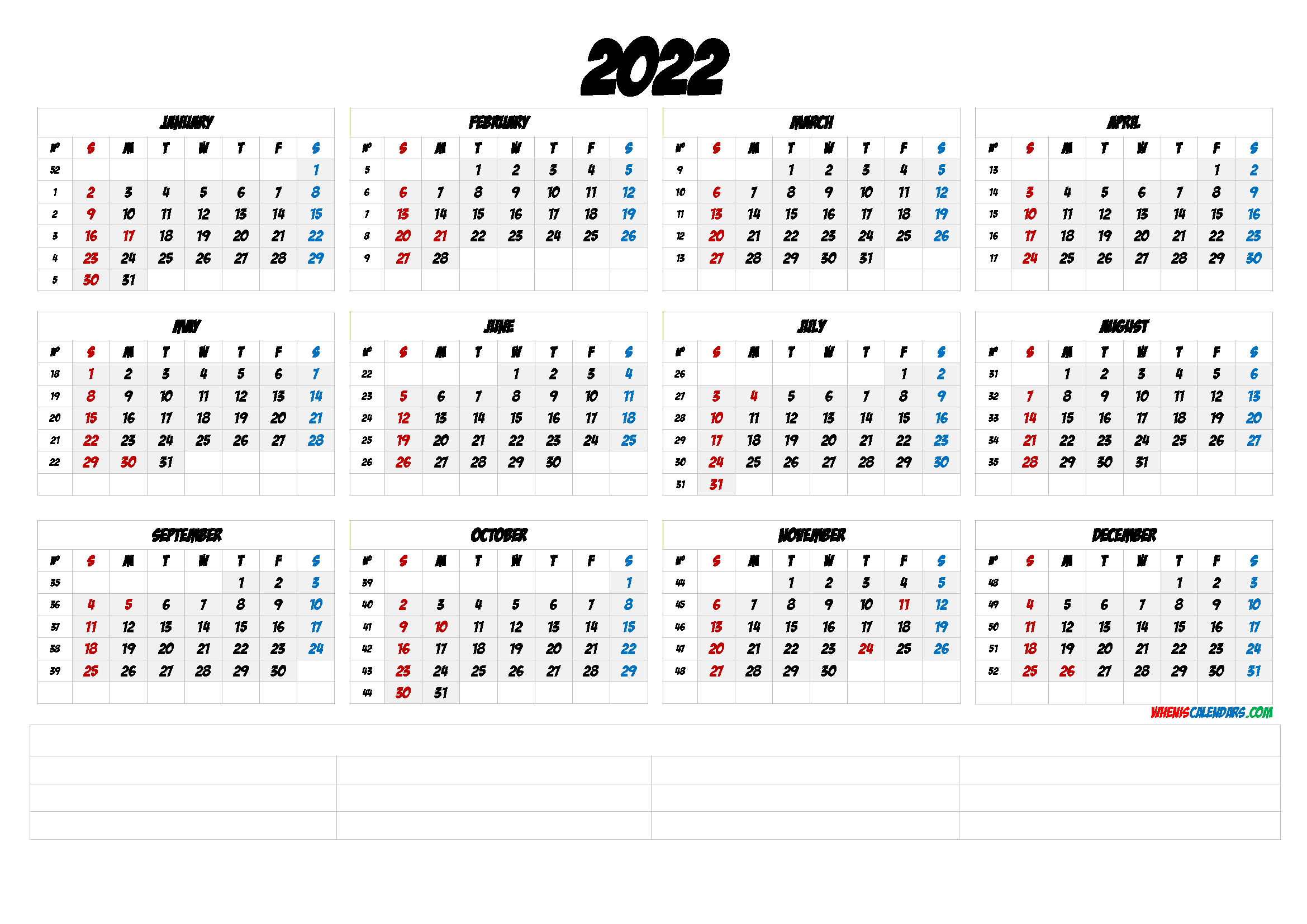 2022 Free Printable Yearly Calendar With Week Numbers Regarding January 2022 Calendar Large Font