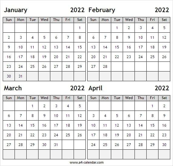 2022 Jan To Apr Calendar Vertical - January 2022 Calendar in January 2022 Printable Calendar Cute