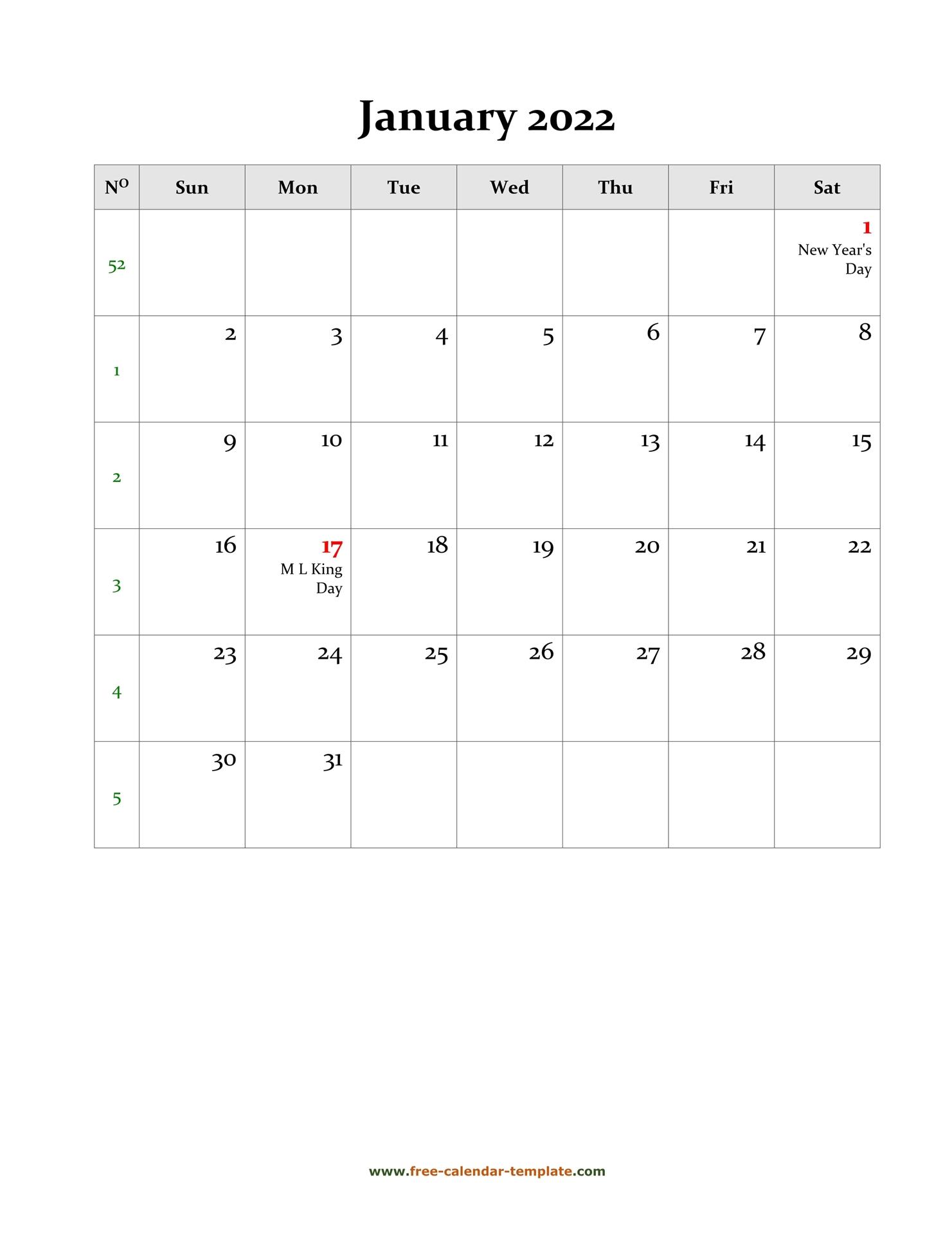 2022 January Calendar (Blank Vertical Template) | Free In January 2022 Calendar Template