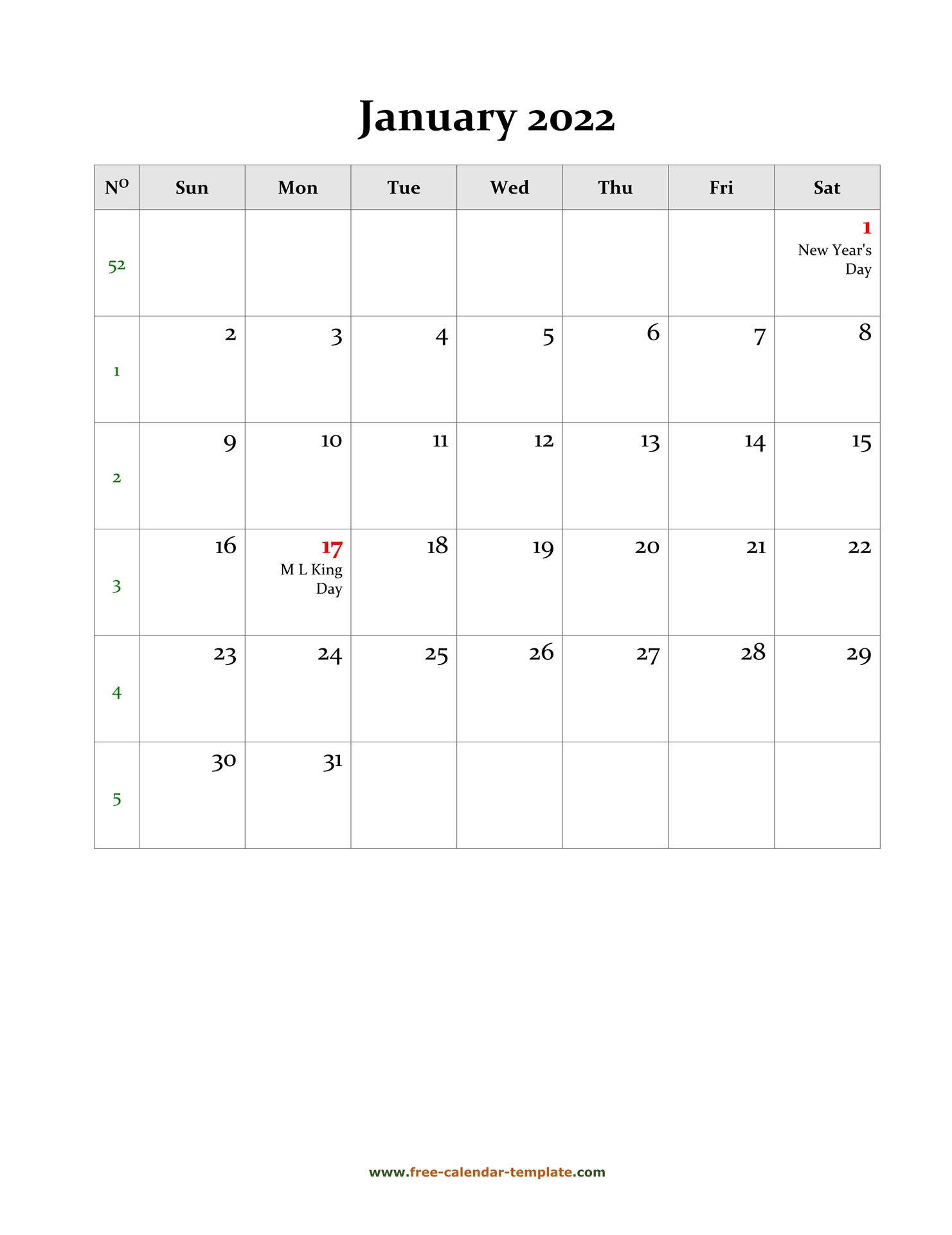 2022 January Calendar (Blank Vertical Template) | Free with Monthly Calendar 2022 January