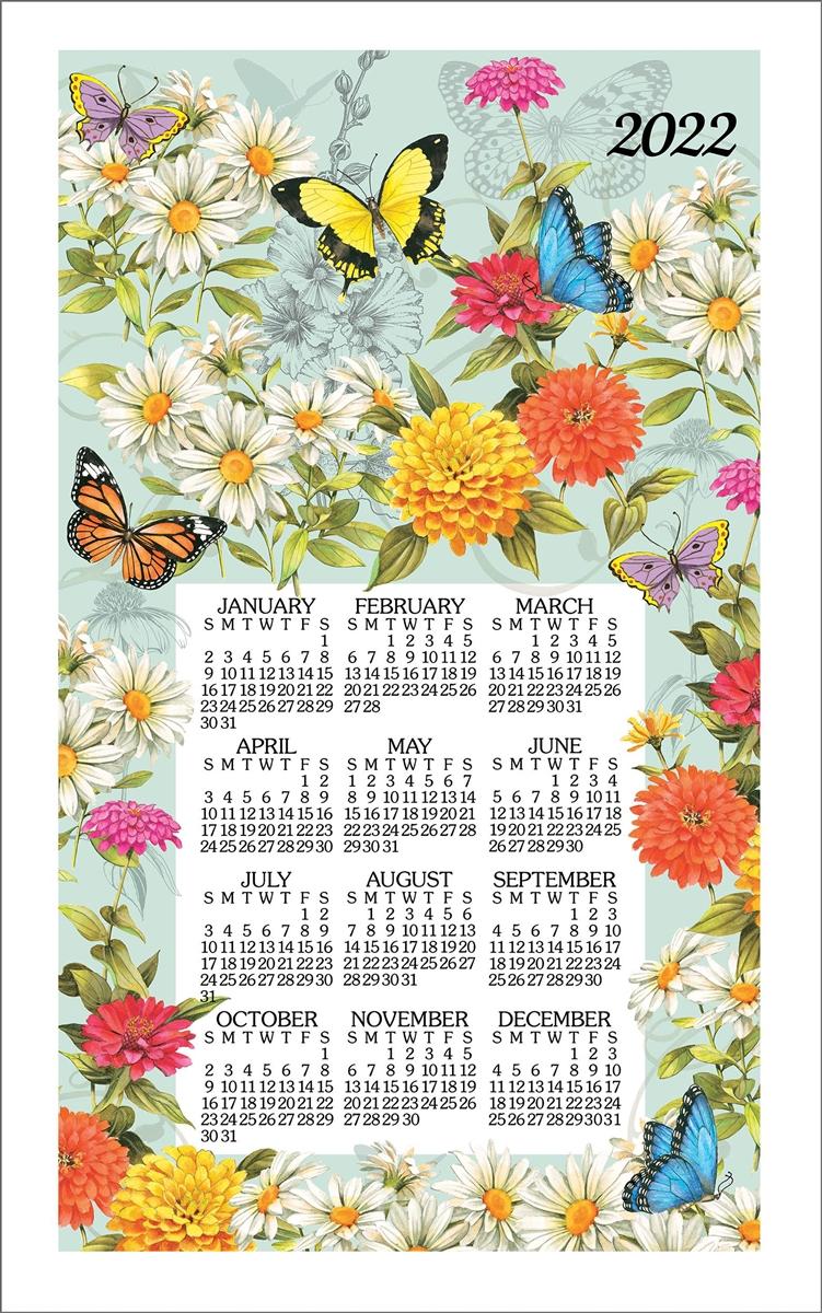 2022 Kay Dee Calendar Towel – Butterfly Floral Throughout Calendar 2022 February Floral