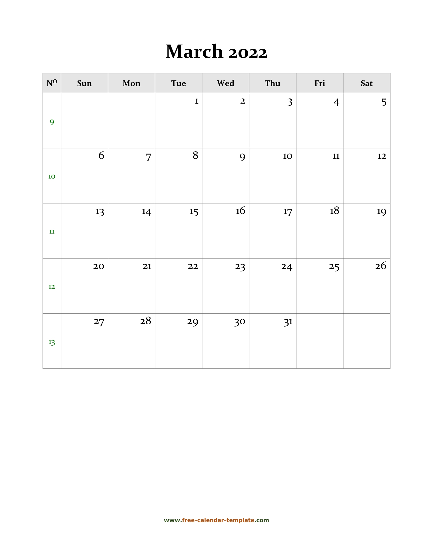 2022 March Calendar (Blank Vertical Template) | Free For Printable Calendars 2022 March