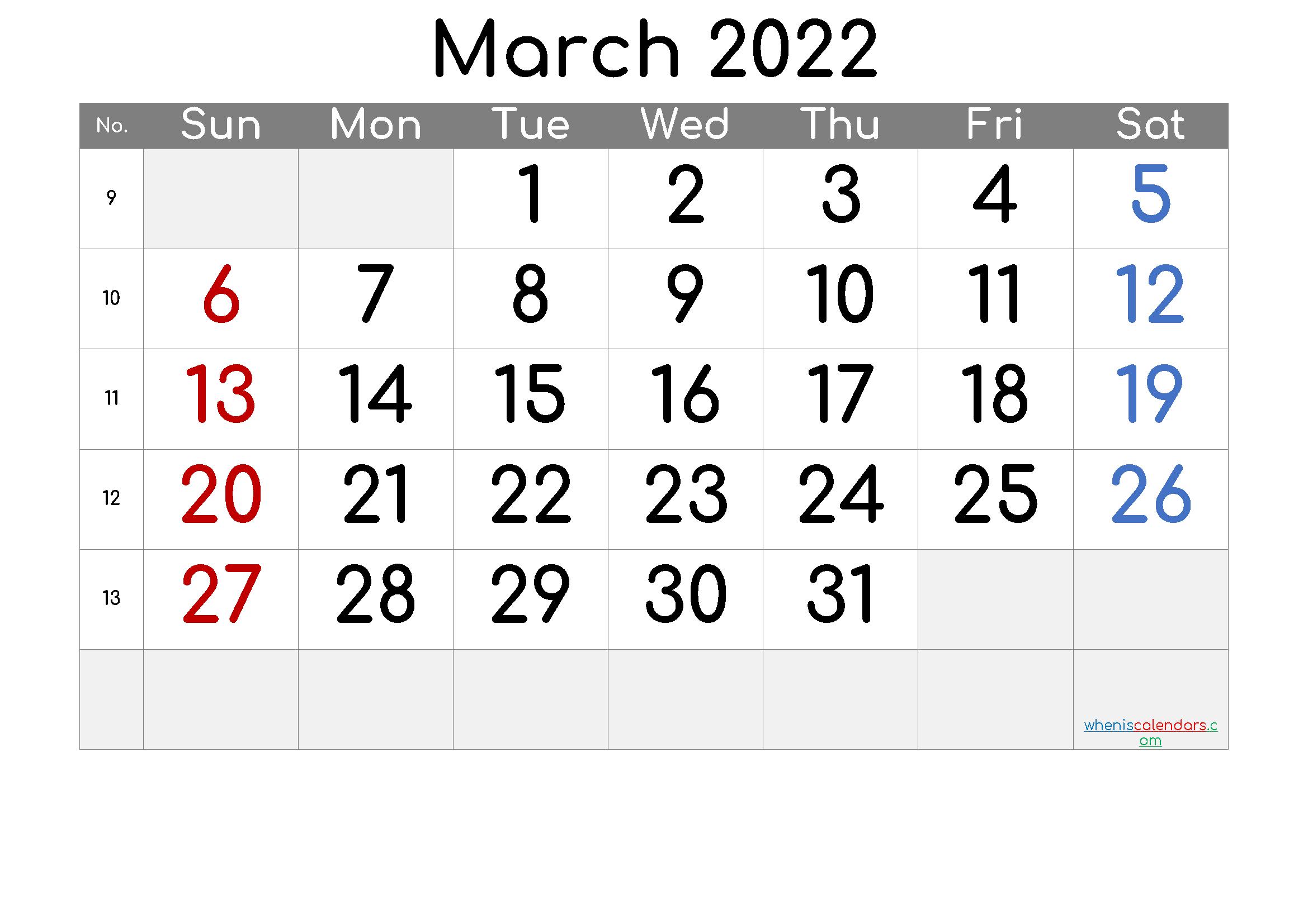 2022 March Free Printable Calendar [Free Premium] Inside Calendar For March 2022