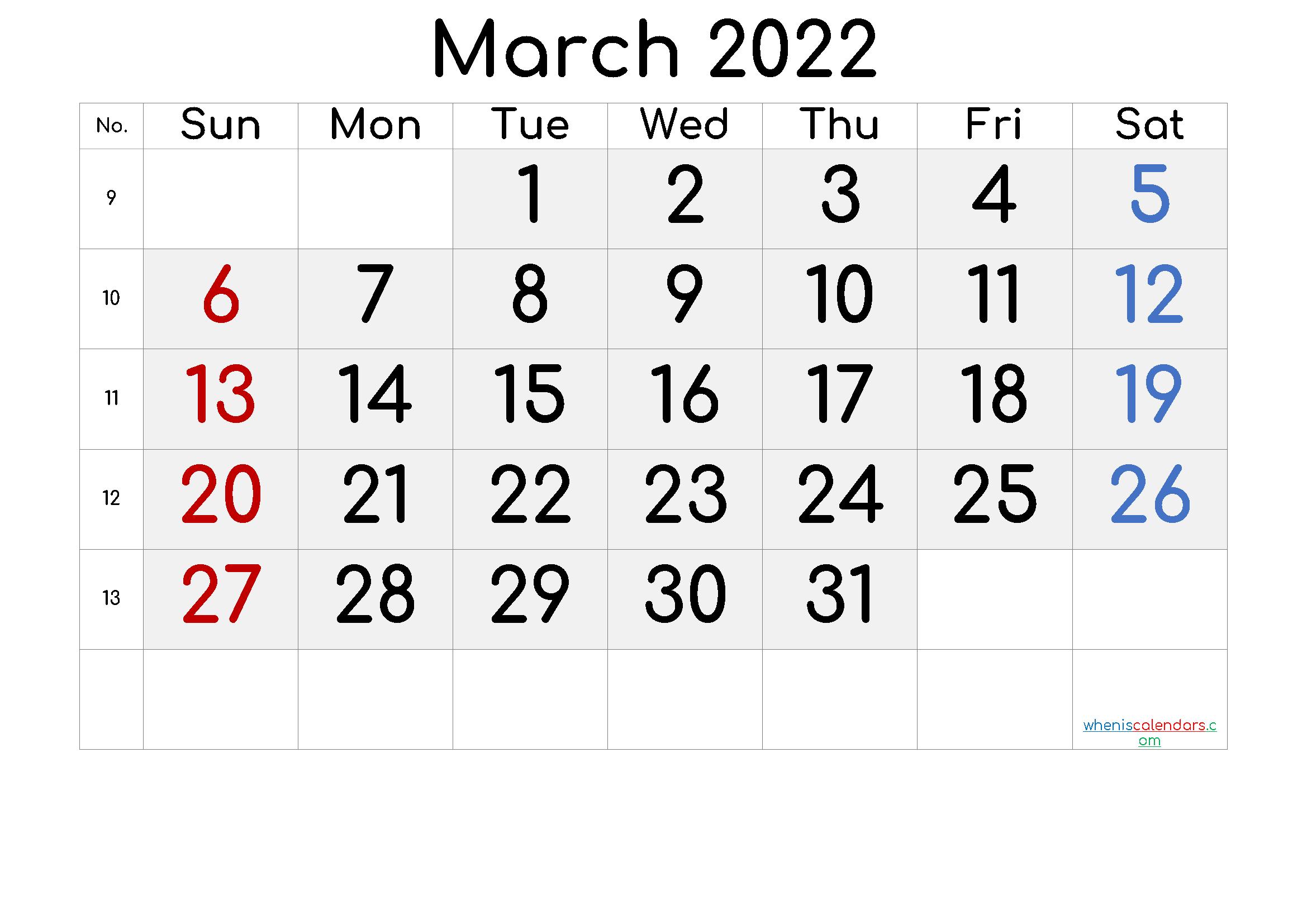 2022 March Free Printable Calendar [Free Premium] Intended For March 2022 Calendar Free Printable