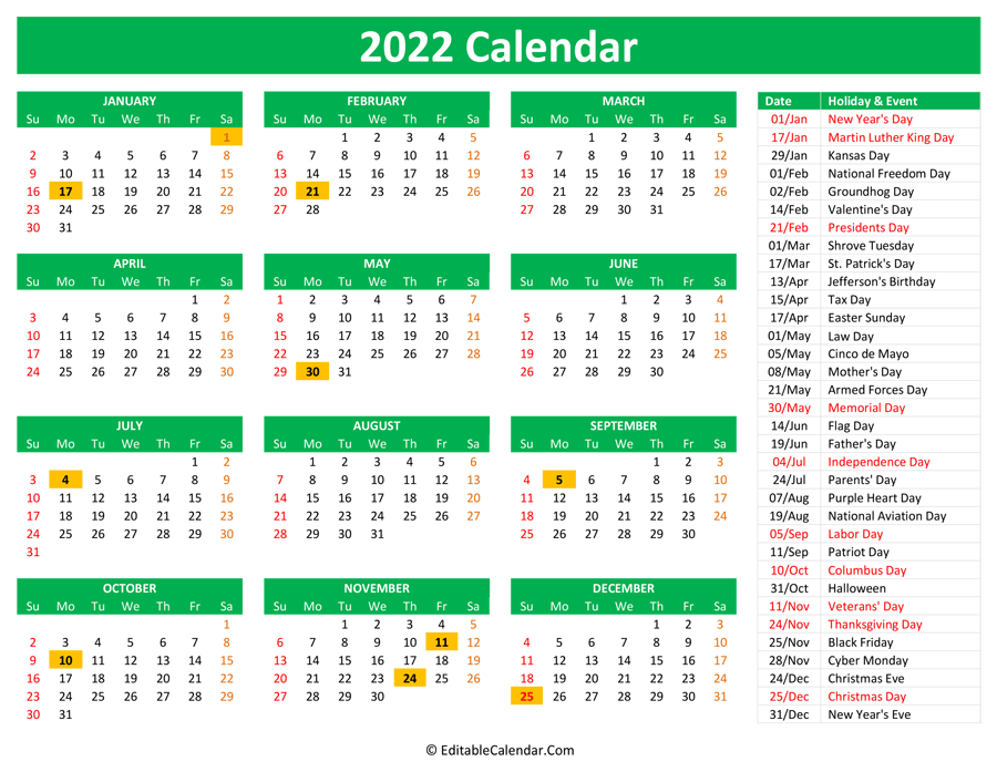 2022 Printable Calendar With Holidays Intended For January 2022 Calendar Large Font