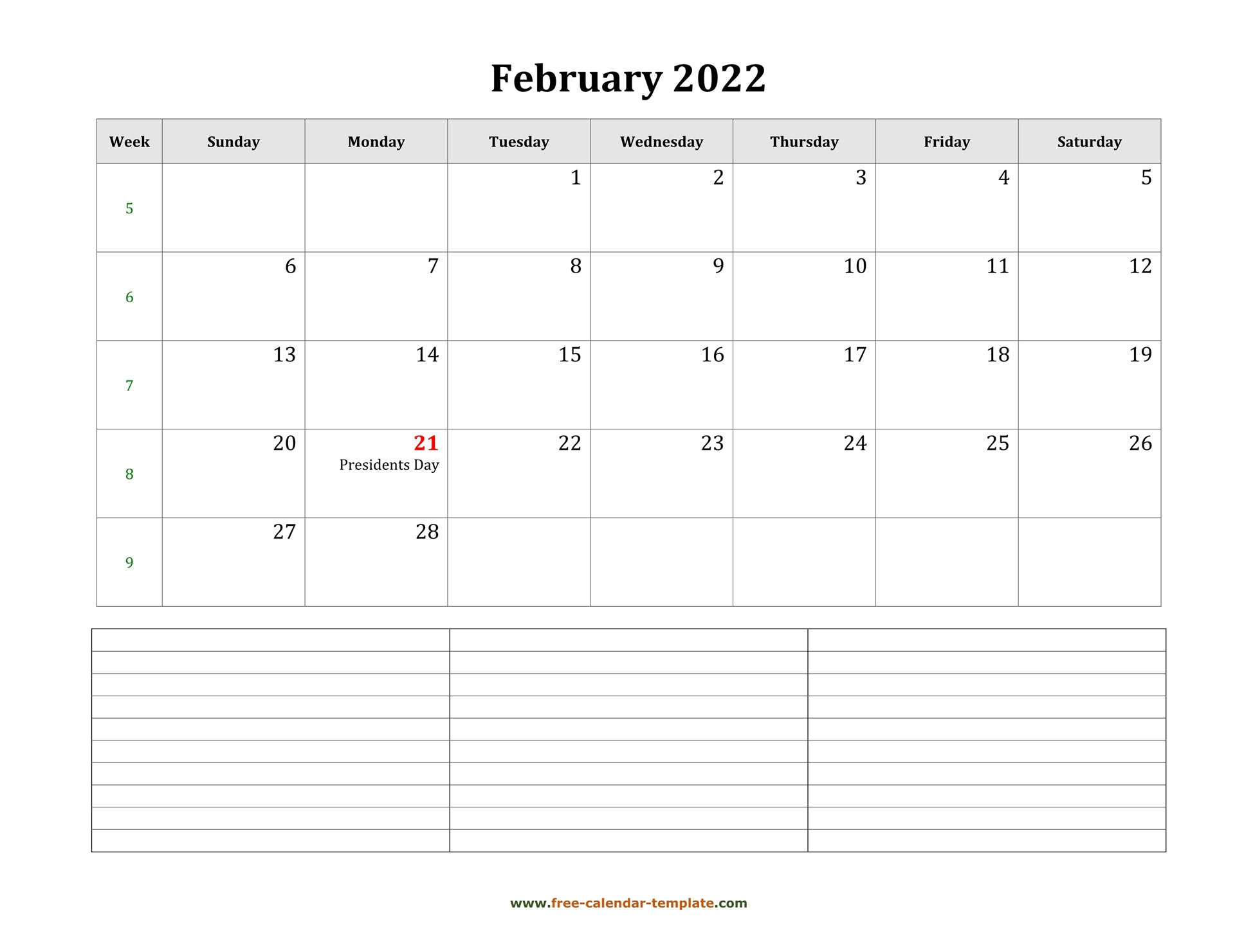 2022 Printable February Calendar With Space For For Free Printable Calendar For February 2022
