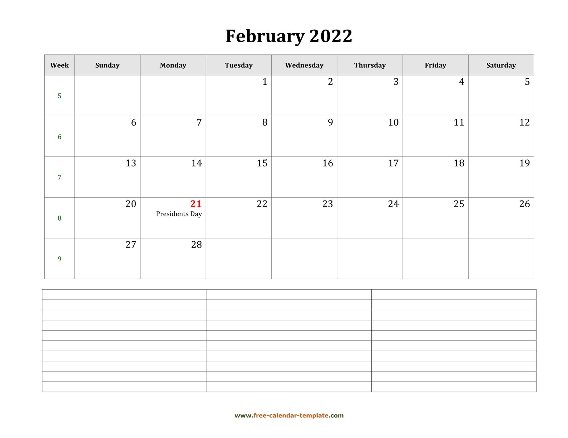 2022 Printable February Calendar With Space For Regarding Calendar Print Feb 2022