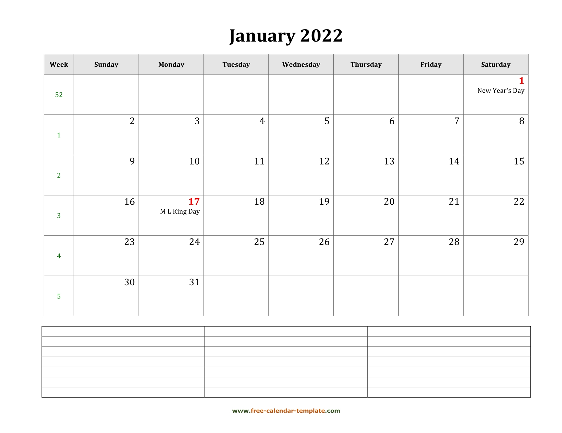 2022 Printable January Calendar With Space For With Free Printable Calendar January 2022 With Holidays