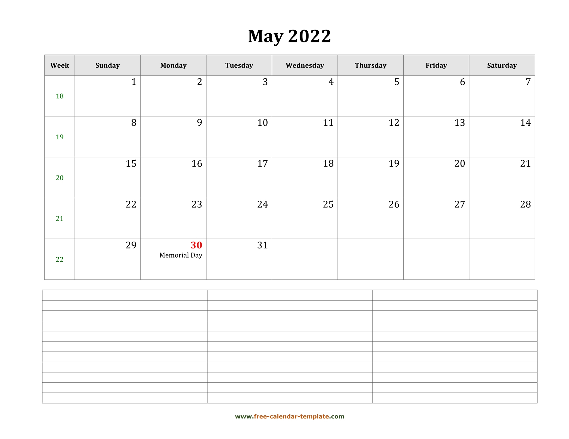 2022 Printable May Calendar With Space For Appointments Pertaining To 2022 Free Big Primt For Feb 2022