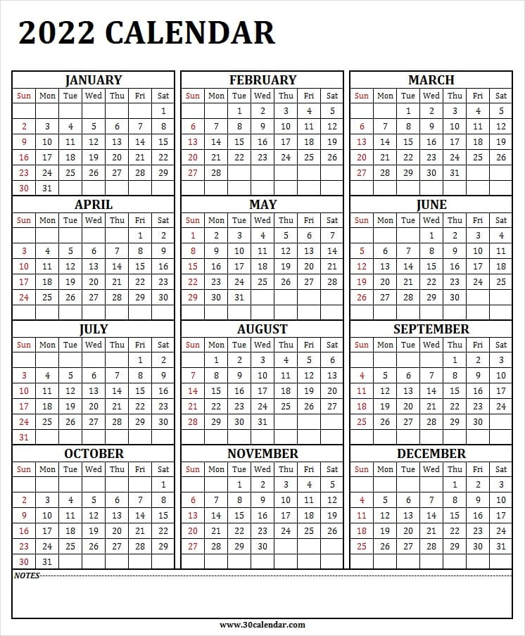 2022 Year Calendar One Page   2022 January To December With Regard To Full Page January 2022 Calendar