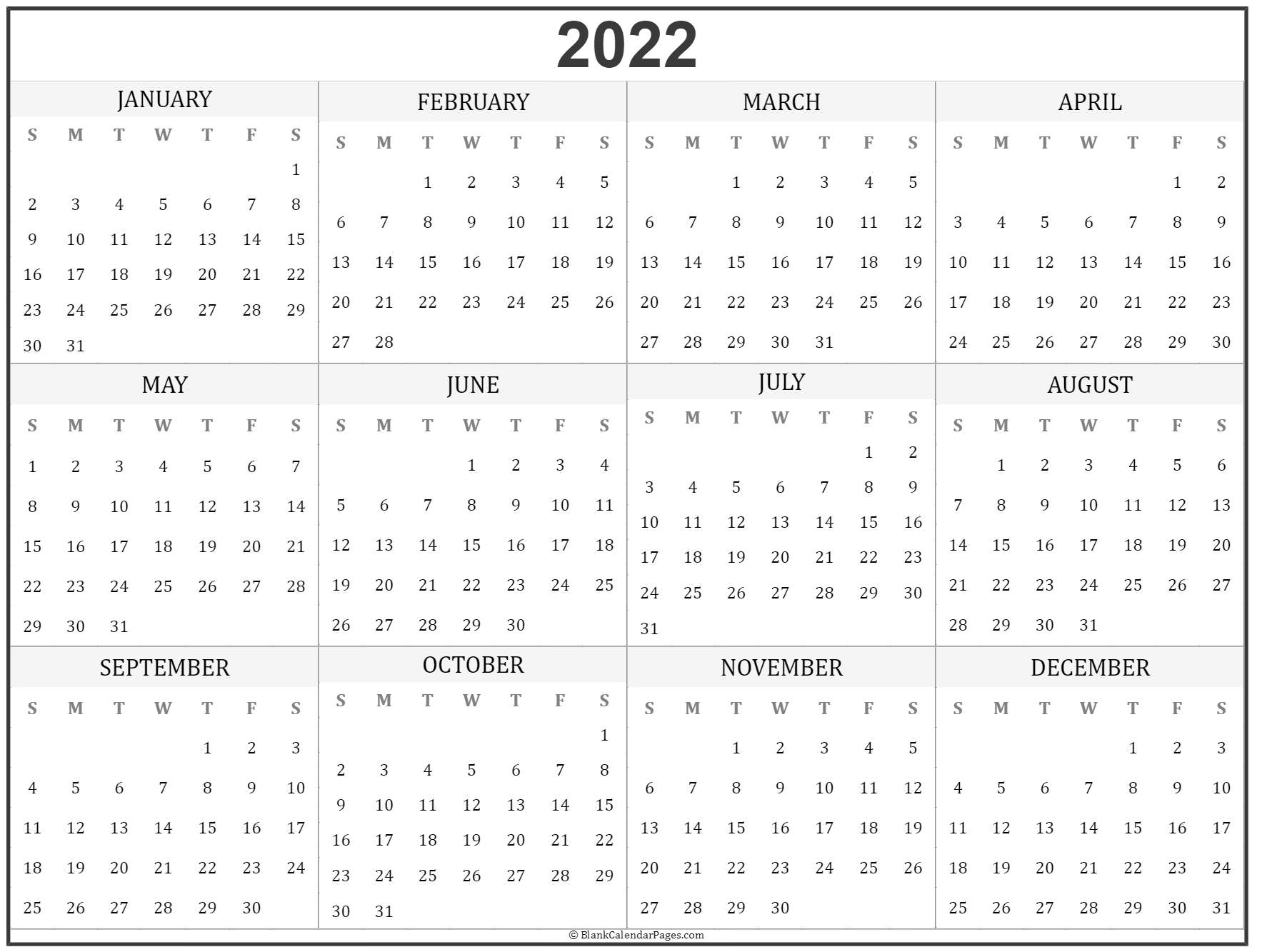 2022 Year Calendar   Yearly Printable Throughout Full Page January 2022 Calendar