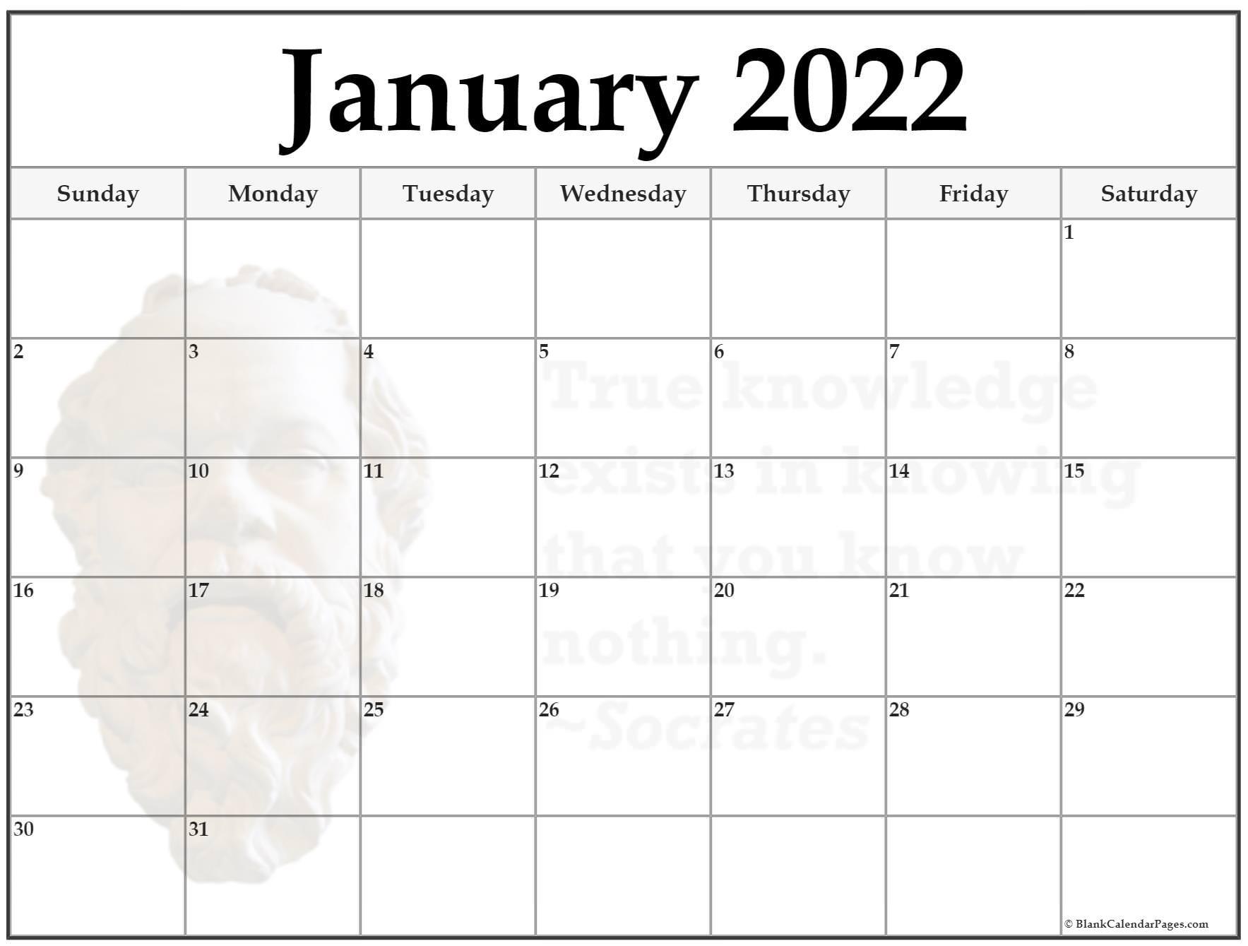 24+ January 2022 Quote Calendars Pertaining To Empty Calendar January 2022