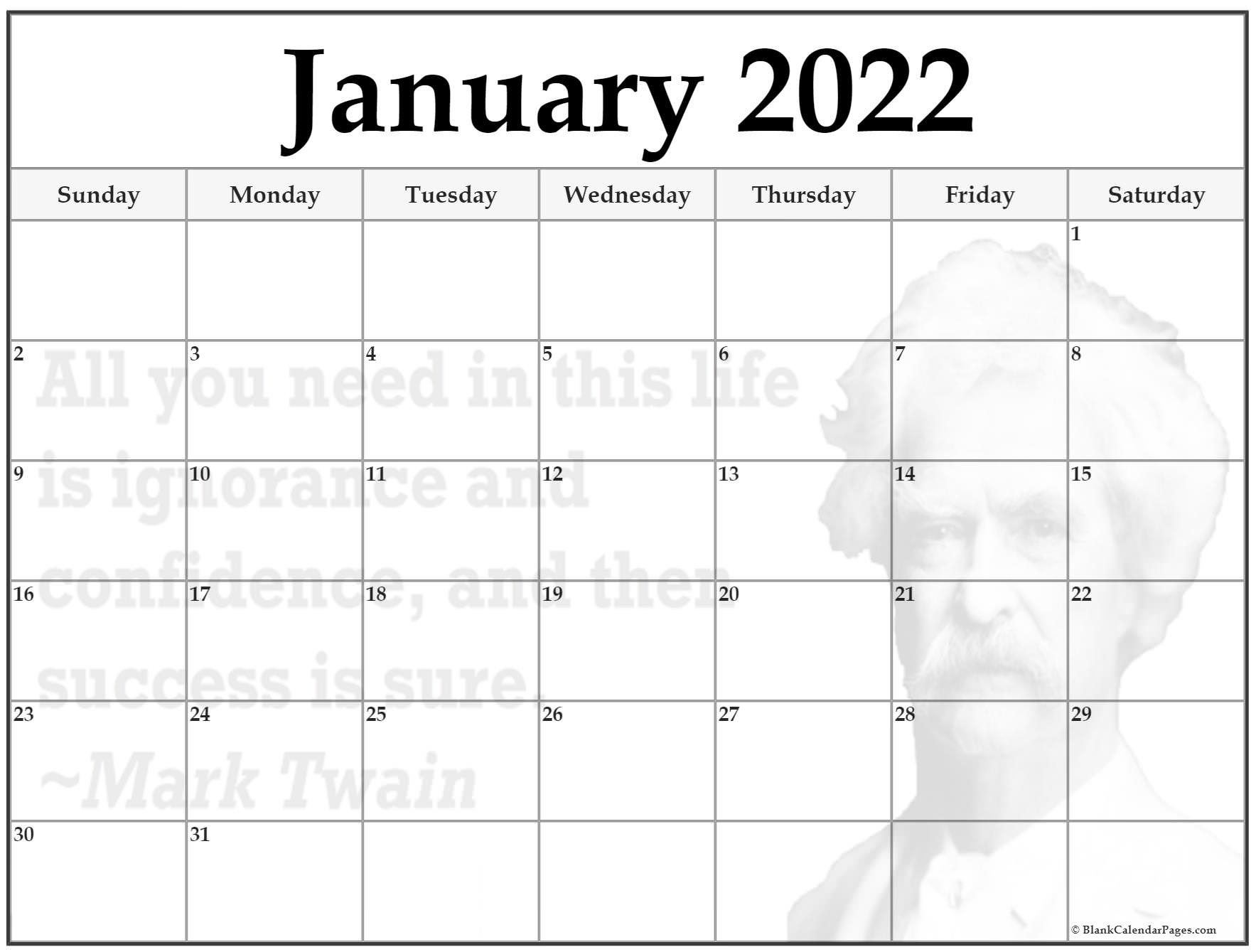 24+ January 2022 Quote Calendars Throughout Blank Calendar January 2022 Printable