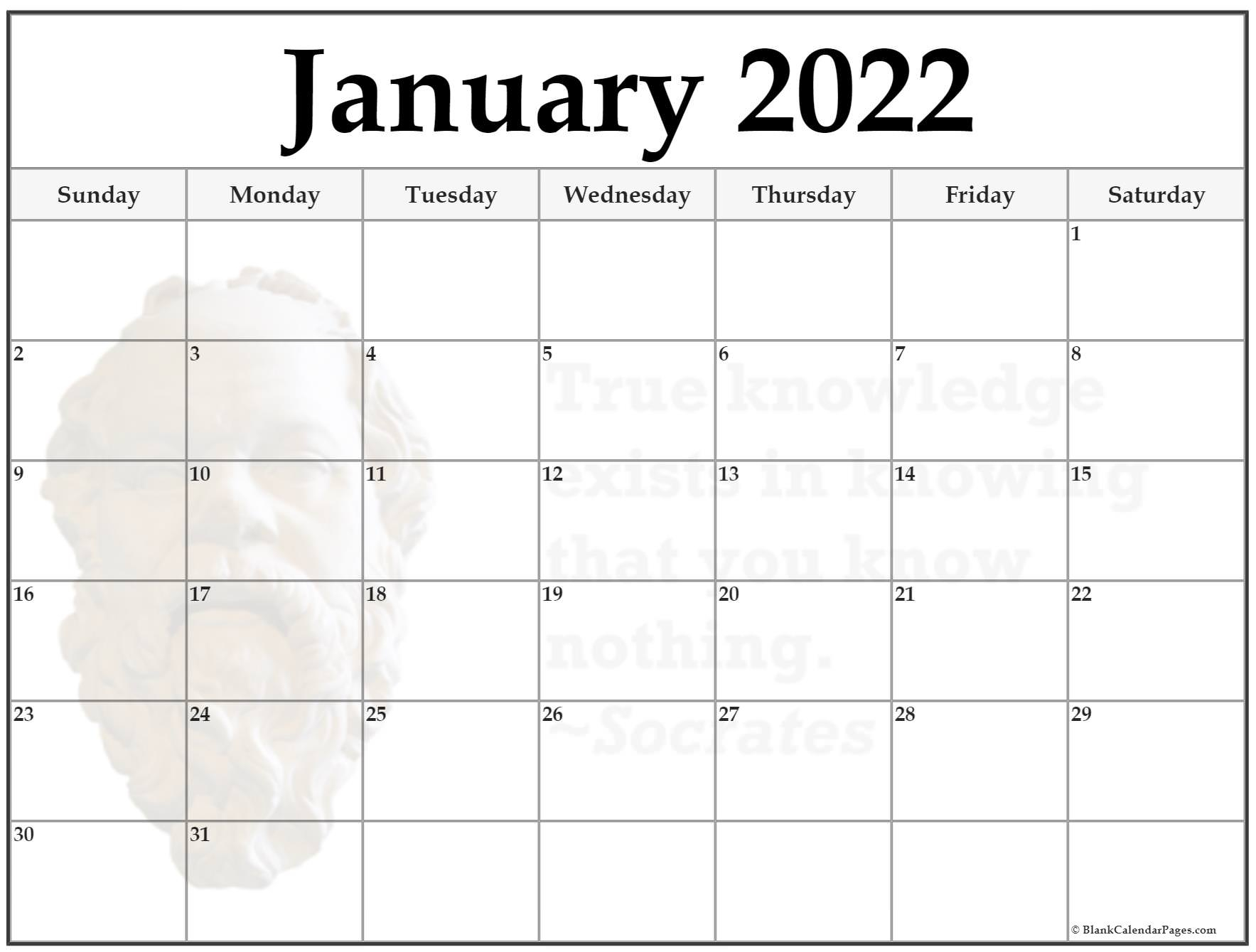 24+ January 2022 Quote Calendars Within Empty January 2022 Calendar