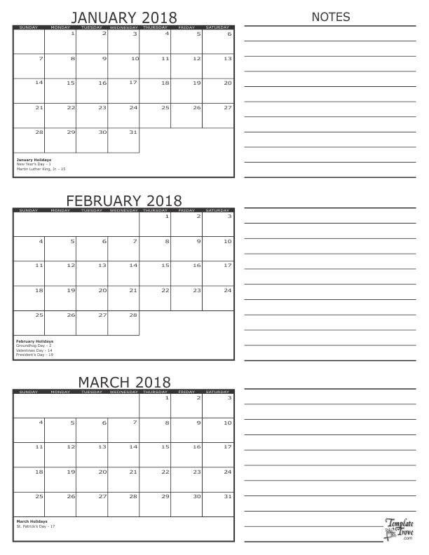 3 Month Calendar – 2018 For November December January February March Calendars