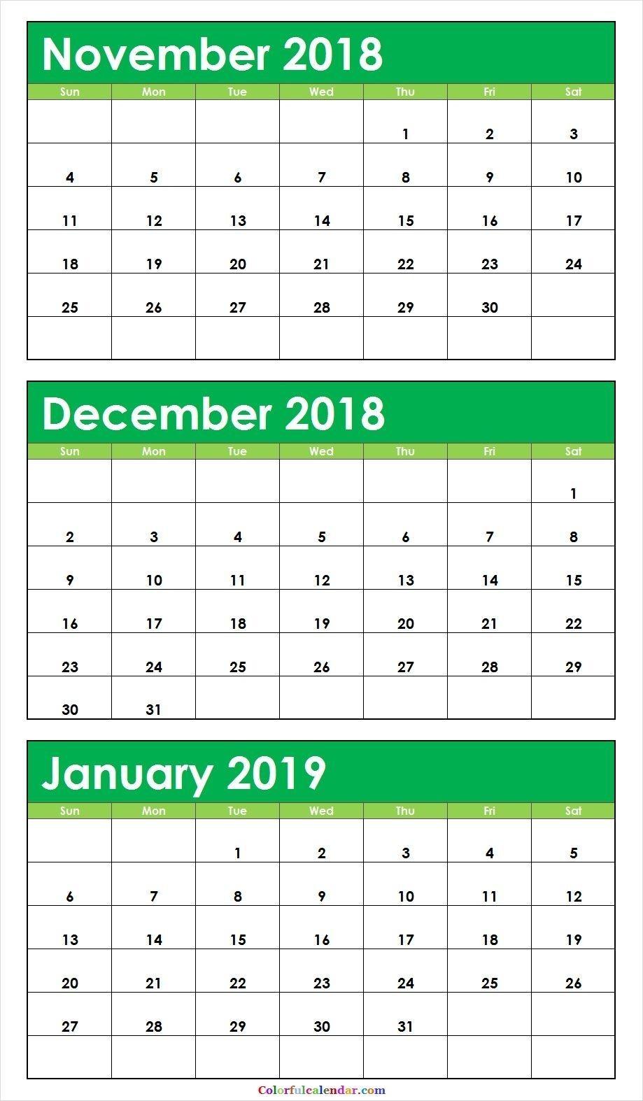 3 Month Calendar November December January In 2020 Pertaining To November December January February March Calendars