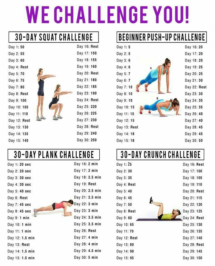 30 Day Challenge For Squats, Situp, Crunches, Planks | 30 throughout Beginner 30 Day Squat Challenge