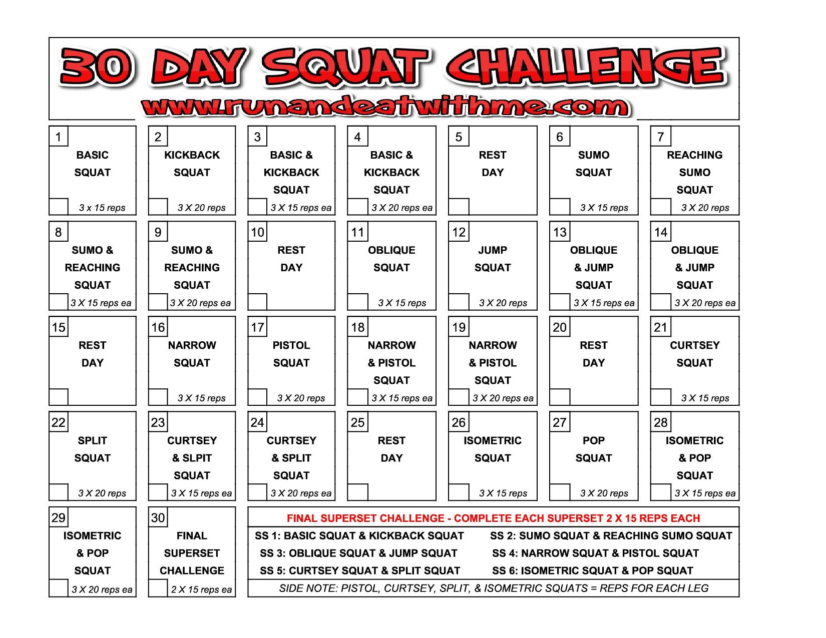 30 Day Squat Challenge – Run And Eat With Me Throughout Beginner 30 Day Squat Challenge