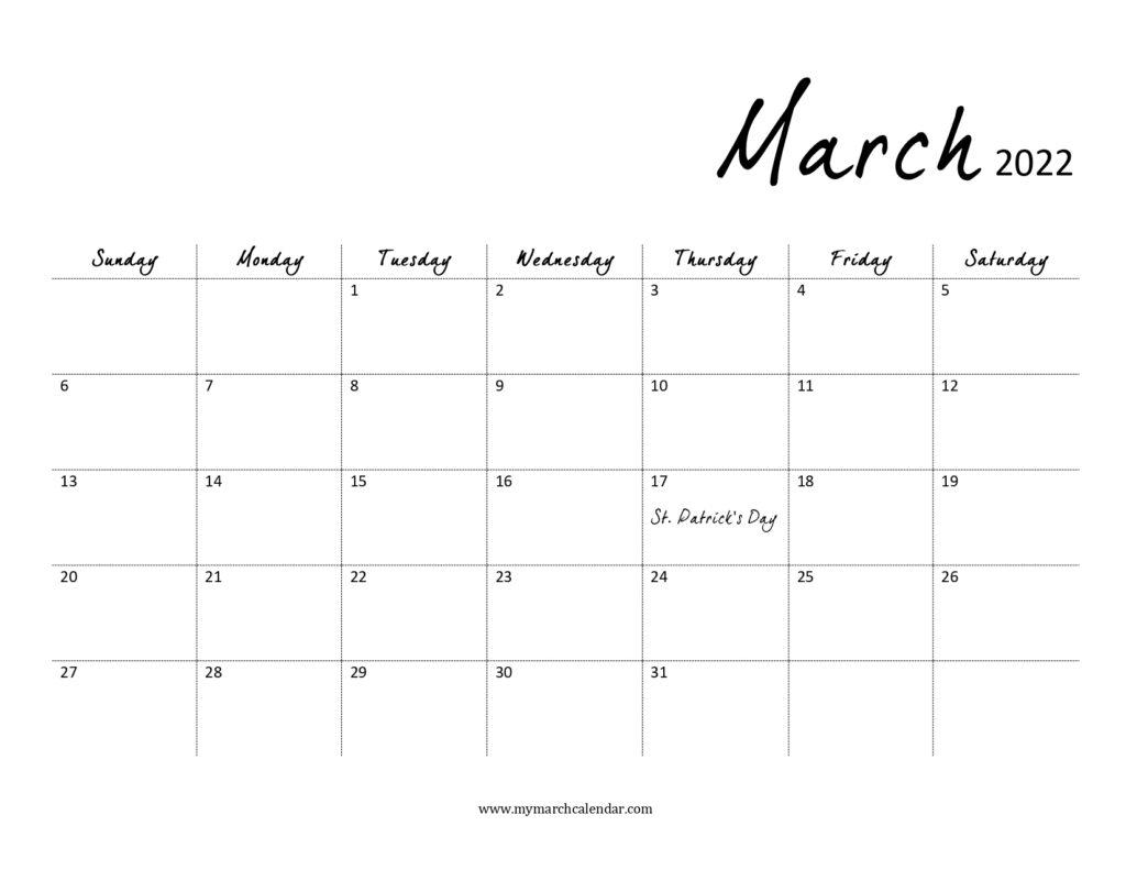 30+ March 2022 Calendar, March 2022 Blank Calendar For March April 2022 Calendar Print