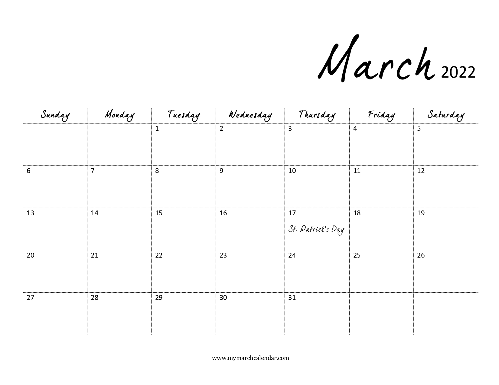 30+ March 2022 Calendar, March 2022 Blank Calendar In March And April 2022 Calendar Pages