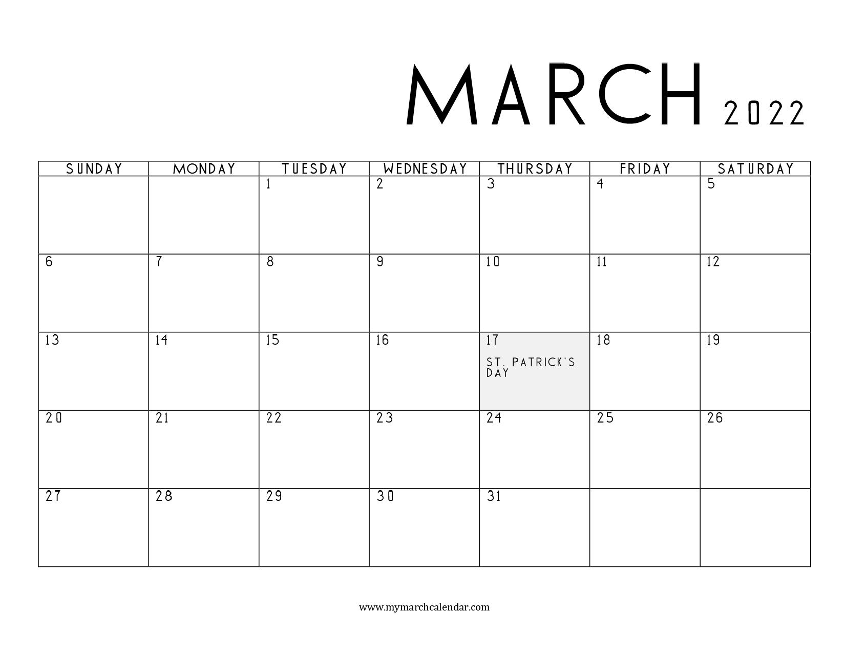 30+ March 2022 Calendar, March 2022 Blank Calendar with March April 2022 Calendar Print